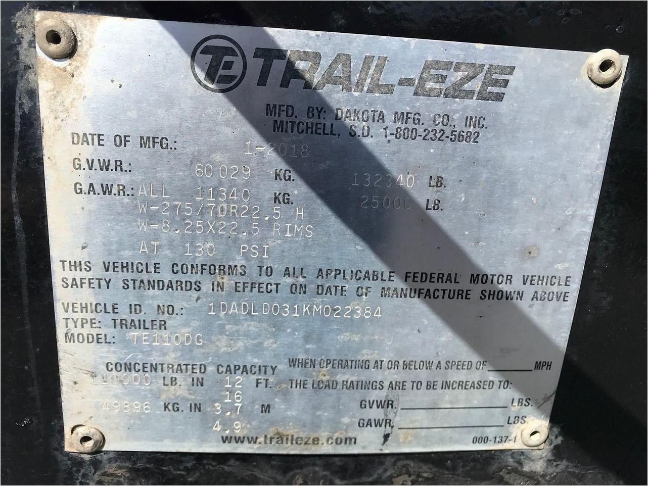 2019 TRAIL EZE TE110DG 55 TON LOWBOY, USE